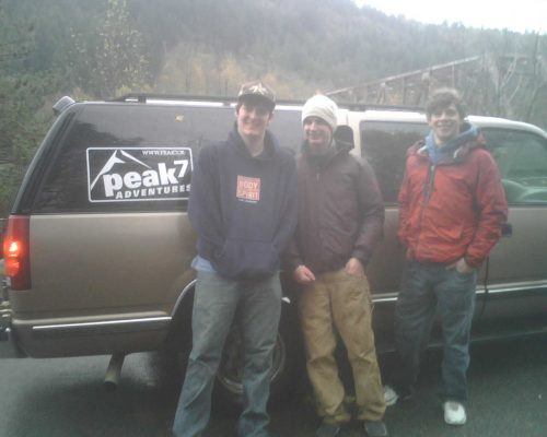 Brian, Blake and Austin from Peak 7 Adventures at the Skykomish put-in in Index, WA
