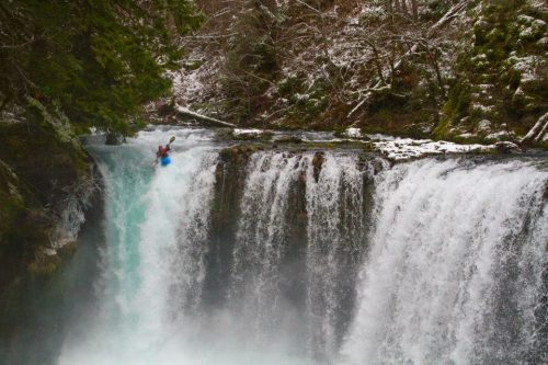 Mike Nash on Spirit Falls, Little White Salmon. Photo by Dan Patrinellis